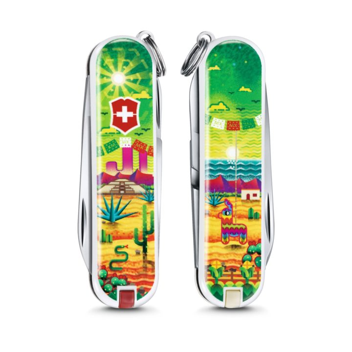 Custom Mexican Sunset Swiss Army Knife Front and Back Victorinox Swiss Army Knife