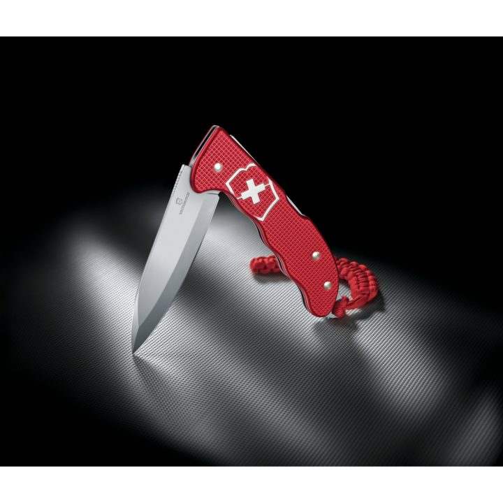 Victorinox Hunter Pro Red Alox Swiss Army Knife Folding Lockblade Black Background